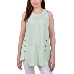 Petite Side Button Rib Knit Sleeveless Top
