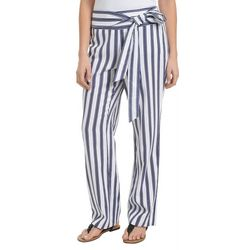 NY Collection Petite Stripe Linen Pull-On Pants
