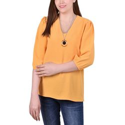 NY Collection Petite Balloon Sleeve Necklace Blouse
