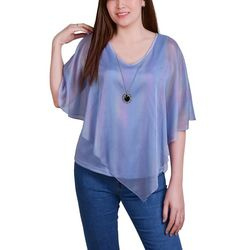 NY Collection Petite Iridescent Sheer Poncho Top