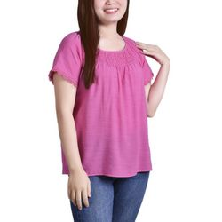 NY Collection Petite Smocked Neckline Top