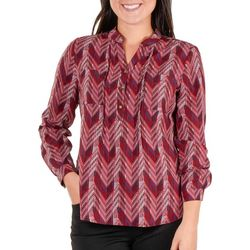 NY Collection Petite Printed Pintuck Henley Top