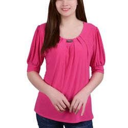 NY Collection Petite Puff Sleeve Pleated Front Blouse