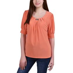 Petite Puff Sleeve Pleated Front Blouse