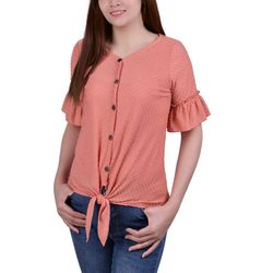 NY Collection Petite Swiss Dot Tie Front Top