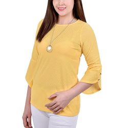 NY Collection Petite Tulip Sleeve Necklace Top