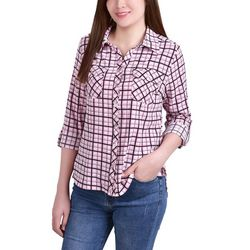 NY Collection Petite Printed Button Down Blouse