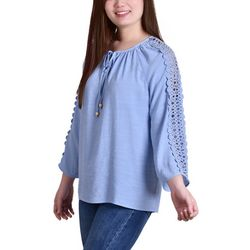 NY Collection Petite Crochet Sleeve Tunic Top