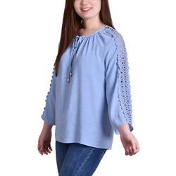 Petite Crochet Sleeve Tunic Top