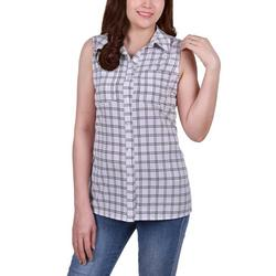 Petite Printed Button Front Blouse