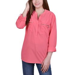 NY Collection Petite Roll Tab Zip Pocket Tunic Top