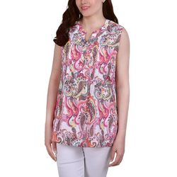 NY Collection Petite Printed Pintuck Sleeveless Blouse