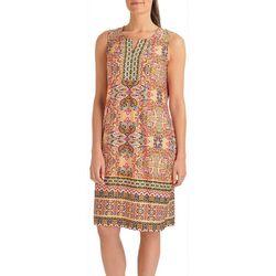 NY Collection Petite Sleeveless Border Shift Dress