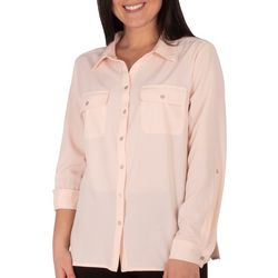 NY Collection Petite Roll Sleeve Flap Pocket Blouse