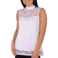 NY Collection Petite Sleeveless Lace Mock Neck Top
