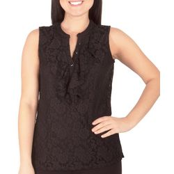NY Collection Petite Sleeveless Lace Ruffle Front Top