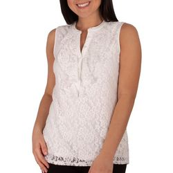NY Collection Petite S;eeveless Lace Ruffle Front Top