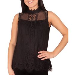 NY Collection Petite Lace Mock Neck Top