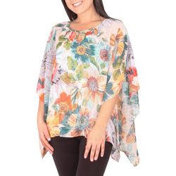 NY Collection Petite Floral Beaded Neckline Chiffon Poncho