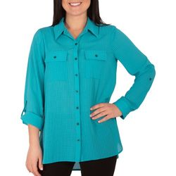 NY Collection Petite 3/4 Sleeve Flap Pocket Blouse