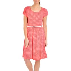 NY Collection Petite Belted Polka Dot A-Line Dress
