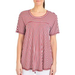 NY Collection Petite Stripe High-Low Swing Top