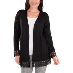 NY Collection Petite Lace Trim Cardigan