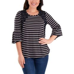 NY Collection Petite Striped Bell Steeve Top