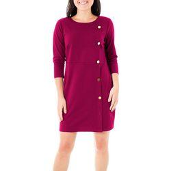 NY Collection Petite Asymmetric Button Dress