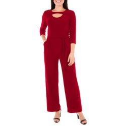 NY Collection Petite Solid Tie Waist Jumpsuit