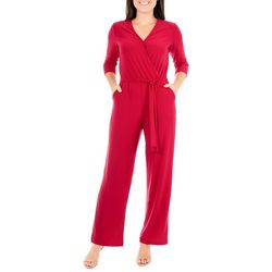 NY Collection Petite Solid Tie Waist V-Neck Jumpsuit