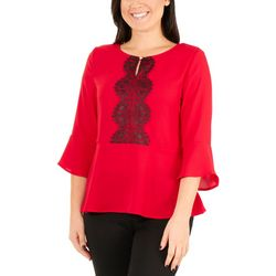 NY Collection Petite Bell Sleeve Peplum Top