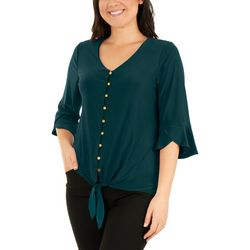 NY Collection Petite Bell Sleeve Tie Front Top