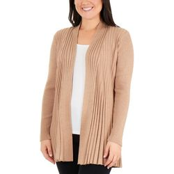 NY Collection Petite Open Front Textured Cardigan