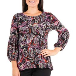 NY Collection Petite Balloon Sleeve High Low Top