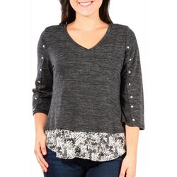 NY Collection Petite Faux Layered Studded Top