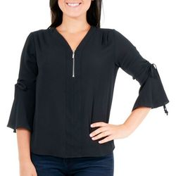 NY Collection Petite Ruched Bell Sleeve Top