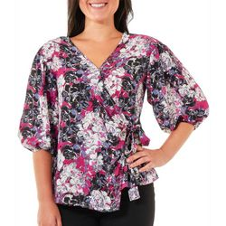 NY Collection Petite FLoral Balloon Sleeve Top
