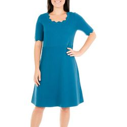 NY Collection Womens Scalloped Solid Dress