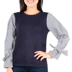 NY Collection Petite Stripe Tie-Sleeve Sweater