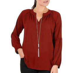 NY Collection Petite Balloon Sleeve Necklace Top