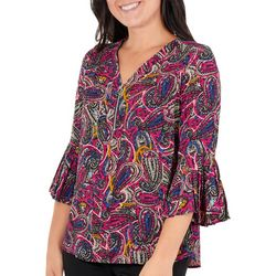 NY Collection Petite Printed Pleated Zip-Front Top
