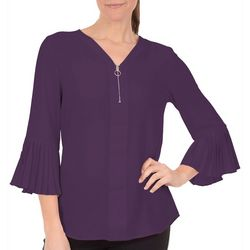 NY Collection Petite Pleated Bell Sleeve Zip-Front Top
