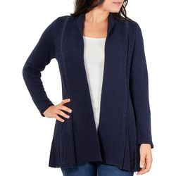 NY Collection Petite Contrast Multi-Stitch Cardigan