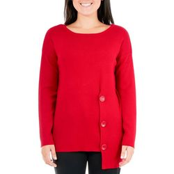 NY Collection Petite Asymmetric Button Sweater