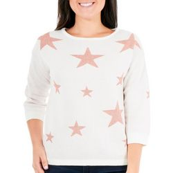 NY Collection Petite Metallic Star Sweater