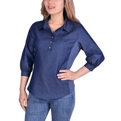 NY Collection Petite Flanged Sleeve Button Front Blouse