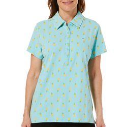 Gloria Vanderbilt Petite Annie Pineapple Print Polo Shirt