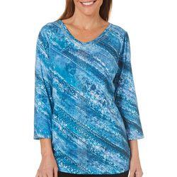 Gloria Vanderbilt Petite Teegan Embellished Lace Print Top