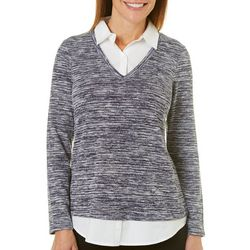 Gloria Vanderbilt Petite Static Layered Sweater